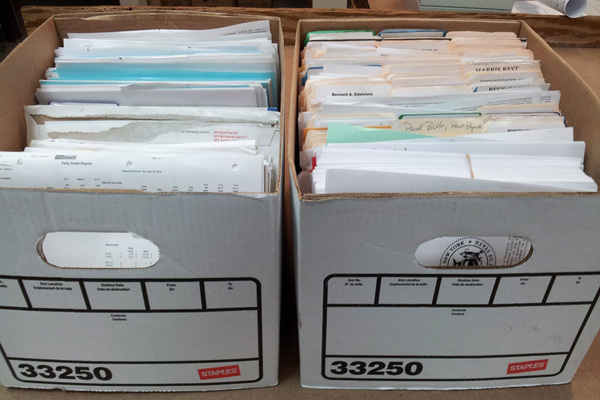 2 boxes of legal documents.